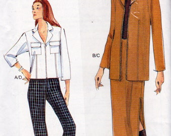 Vogue 7180, Misses Jacket ,Skirt with Side Slits and Ankle Length Pants Ensemble,  Misses Sizes 18, 20 and 22, Easy Sewing Pattern, Uncut
