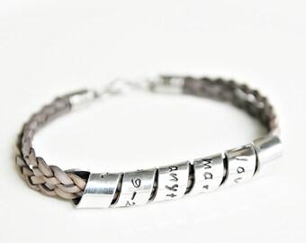Quote Bracelet, Personalized Leather Bracelet, Hidden Message Bracelet, Spiral Message, Hand Stamped Jewelry, Hand Stamped Bracelet