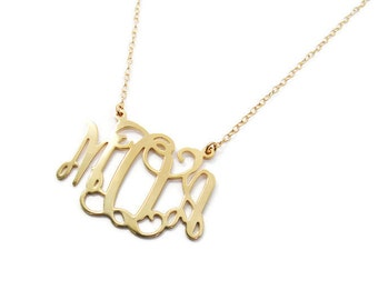 """Monogram necklace. 1.25"""" monogram necklace. Gold plated sterling silver personalized Necklace. Monogram jewelry. Gold monogram necklace."""