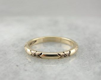 Forget Me Not, Vintage Floral Band for Wedding or Stacking Ring ZCADYP-R