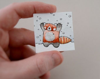snowcatching red panda - original miniature artwork