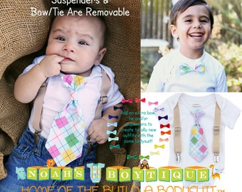 Newborn Boy Easter Outfit - Boys Easter Shirt - Toddler - Easter Clothes -  First Easter - Easter Photo Prop - Plaid - Argyle - Blue - Tan