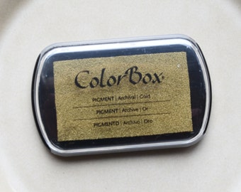 Gold Color Box Ink Pad - Archival Pigment Ink (Item 19091)