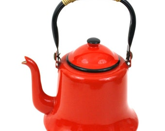 Vintage Red Enamelware Kettle with Rattan Handle made in Japan