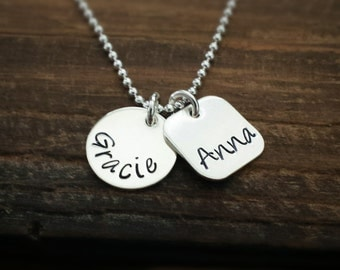 Personalized Name Necklace, Charm Necklace, Sterling Silver , Mommy Jewelry, Hand Stamped