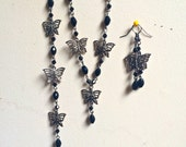 Butterfly sterling silver jewelry set with black glass beads