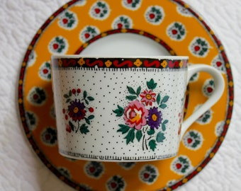 Souleiado Cup & Saucer ~ Made in France by Solafrance ~ Vintage 'Le Fleur d' Arles Pattern ~ Coffee or Tea