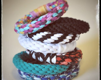 Chunky Jersey Stacking Bangle Bracelet Colorful Cotton Woven Bangles in a Sellection of Colors stocking stuffer