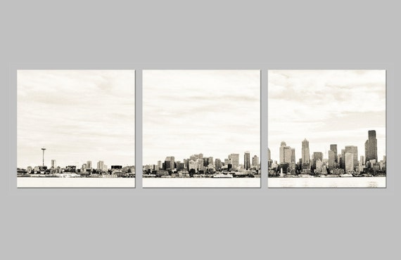 Seattle Skyline Silhouette. Pacific Northwest. Urban Photography. Metal Sepia Triptych. FREE SHIPPING.