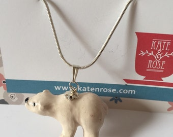 Miniature Polar Bear necklace - white polar brear - miniature ornament set as a pendant - fantasy and whimsy
