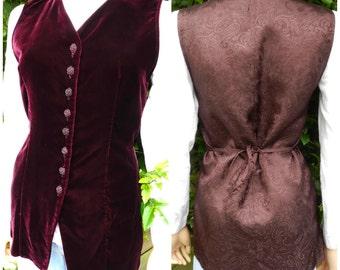 Vintage 90's maroon red velvet waistcoat u.k. 8 - 10 SM