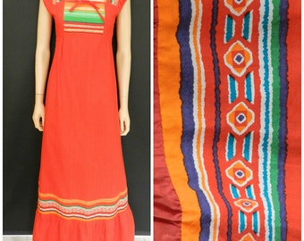 Vintage 70's hippie tiered red maxi dress u.k.  8 – 10 SM
