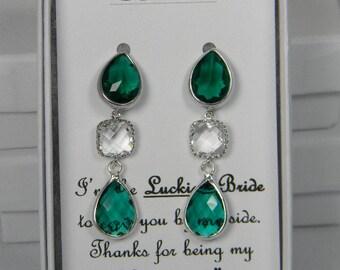 Emerald Green/ Silver Bridesmaids Teardrop Earrings, Teal Green Earring Bridesmaid Gift, Teal Blue Drop Earrings Personalized Note  - SE1