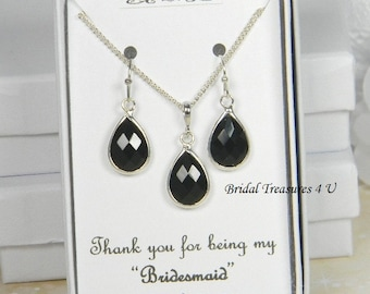 Black / Silver Bridesmaids Teardrop Necklace Set, Black Bridesmaid Gift Set, Black Earrings, Personalized Note, Black Wedding - TD