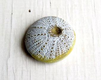 Small Urchin in gold (Humblebeads) - artisan handmade polymer painted urchin bead in gold - art beads uk