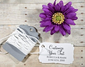 White Wedding Favor Tags set of 20 - Personalized Wedding Tags - White Custom Favors - Shower Tags - White Bridal Shower - Thank You Tags
