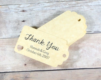 Small Antique Gold Wedding Favors Set of 20 - Personalized Bridal Shower Gift Tags - Gold Wedding Tags - Antique Gold Bridal Shower Labels