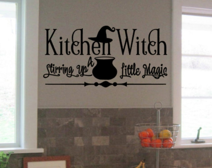 Kitchen Witch Stirring Up A Little Magic- Halloween Vinyl Wall Art, Vinyl Quote Home Decor Vinyl Decal