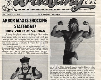 Pro Wrestling, WCCW, The Von Erichs, The Fabulous Freebirds, vintage wrestling program