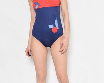 Vintage 80's Strapless One Piece Geometric Swimsuit