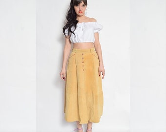 Vintage 80's Suede Leather Midi Skirt / High Waisted Suede Leather Flared Skirt