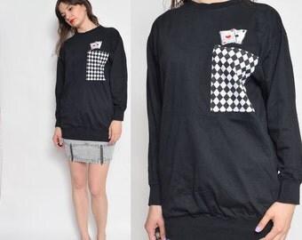 Vintage 80's Cards Black Sweatshirt