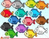 Rainbow Fish Clip Art and Digital Stamp - personal and commercial use
