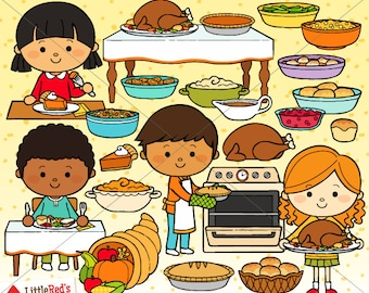 Thanksgiving Dinner Clip Art and Line art - personal and commercial use