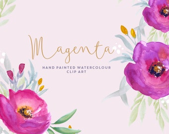 Flower Watercolour Clipart - Magenta