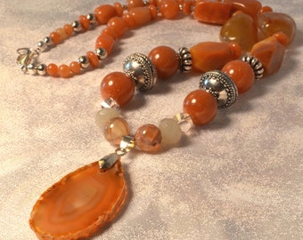 Red Agate, Aventurine and Crystal Womens Necklace