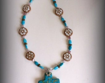 Turquoise Pendant, Cross My Heart Necklace. Gifts for her. Unique. Beaded Necklace. Gift. Beaded Jewelry