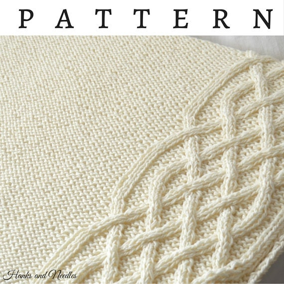 Irish Baby Blanket Knitting Pattern : Celtic Cable Chunky Knitting Pattern PDF Download Baby