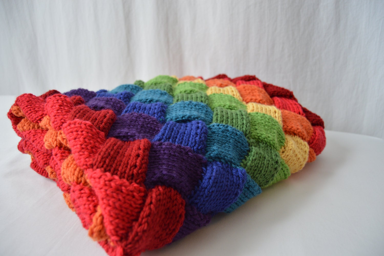 Rainbow Baby Entrelac Knitted Blanket Merino Basket Weave