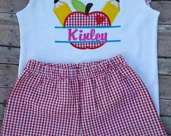 Girl's Back to School ruffled sleeves and shorts set