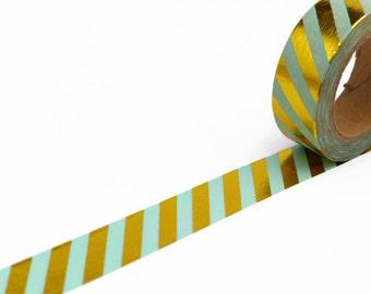 Mint Washi Tape - Gold Foil Washi Tape - Diagonal Stripe Washi Tape - Metallic Masking Tape - Mint Masking Tape - Shiny Washi Tape - 15mm