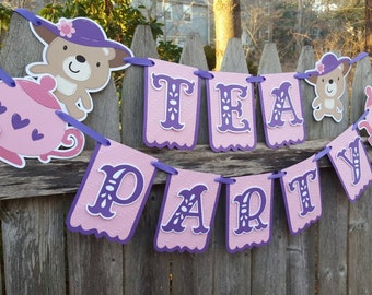 Tea Party Banner, Teddy Bear Tea Party