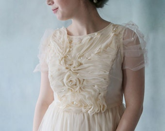 Wavy Sleeve Cream Flower Tea Length Wedding Dress Great for Garden Wedding or Wedding Party