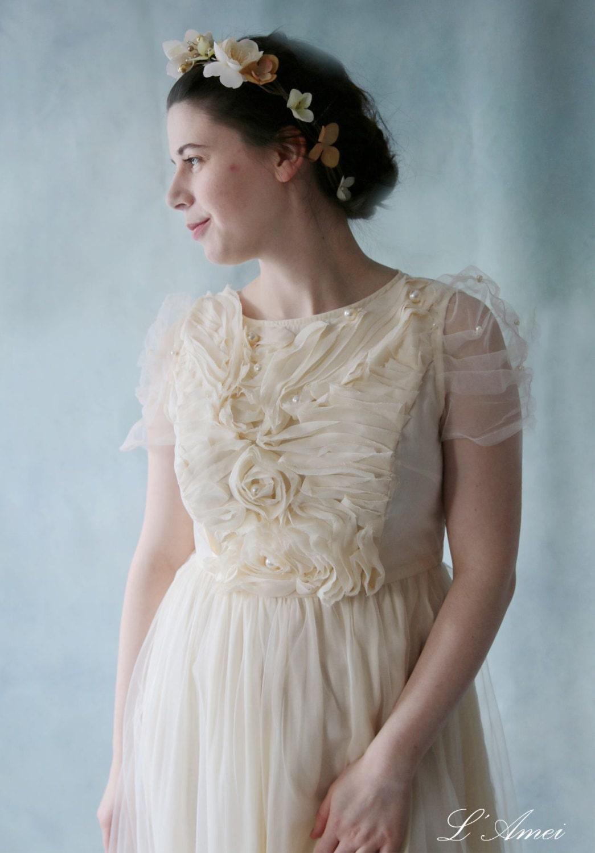 Wavy Sleeve Cream Flower Tea Length Wedding Dress Great for