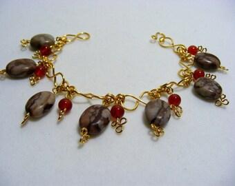 Jasper and Carnelian Charm Bracelet
