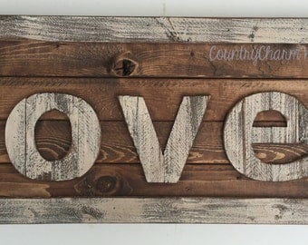 Wood LOVE sign, rustic decor, wooden wall sign, wedding decoration, mother's day gift, large sign