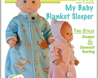 Pixie Faire 18 On Main My Baby Blanket Sleeper Doll Clothes Pattern for 15 inch Bitty Baby Dolls - PDF