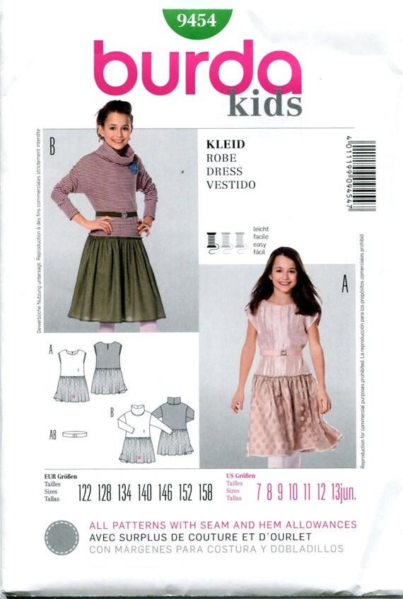 Burda kids 9454 dress pattern girls tulle skirt dress cowl for Cowl neck wedding dress pattern