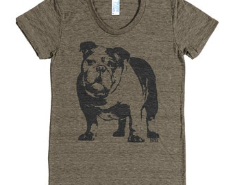 English Bulldog Womens Tri Blend Tshirt, English Bull Dog Clothing, Bulldog Girlfriend Gift, Wife Gift, Sister Gift, Dog Memorial Gift