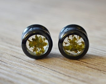 9/16 plugs 14mm ear plugs 9/16 tunnels real flower plugs floral gauges floral plugs Girly plugs plug jewelry Resin Plugs eco plugs gauges