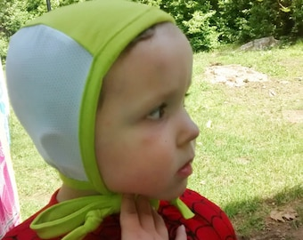 Custom Lime with White Mesh Pilot Cap for those with hearing aids/ cochlear implants, Hearing Aid Cap Hat