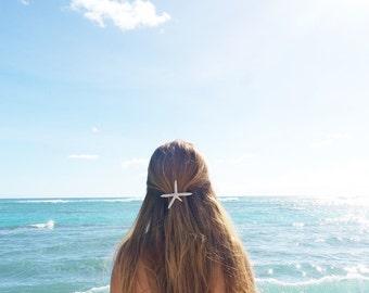 White Starfish Barrette - Bridal Accessories, Wedding Hair Clip, Ariel Mermaid Barrette, Christmas Hair Accessory, White Star Hair Clip