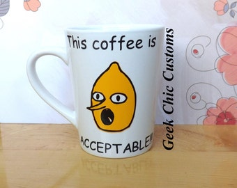 Adventure Time Lemongrab Coffee Cup Tea Mug, Lemon Grab Funny Coffee Mug, Jake the Dog Finn the Human Marceline Princess Bubblegum Nerd Geek