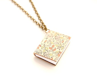 Mini book necklace pocket book little tiny jewelry