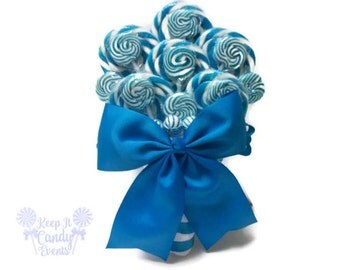 Light Blue Lollipop Wedding Bouquet, Lollipop Wedding Bouquets, Bridal Bouquet Alternative, Lollipop Bouquet, Blue Bridal Bouquet