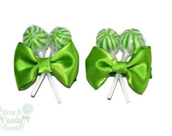 Green Lollipop Hair Clips, Candy Hair Clip, Sweet Sixteen Hair Ideas, Candy Theme Party Planning, Green Baby Shower, Candy Barrettes